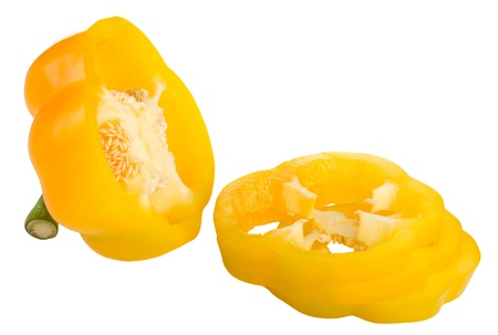 Sliced yellow pepper isolated on white