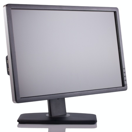 computer monitor: Wide Screen LCD  computer monitor isolated on white background. Stock Photo