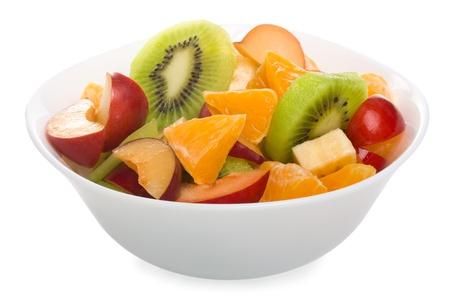 Fruit salade in de kom Stockfoto