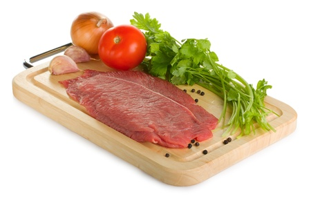 Raw beef steak on a cutting board isolated on white background