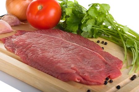 Fresh raw beef steak on wooden cutting board  Stock Photo