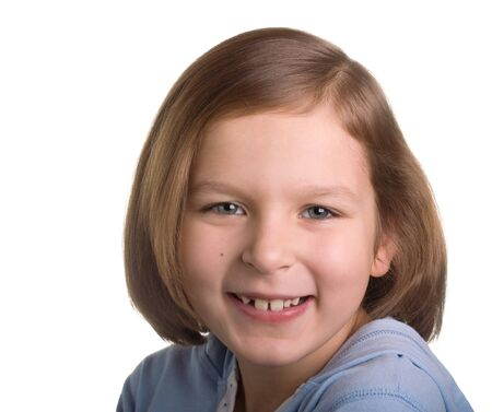 Portrait of a smiling girl over white