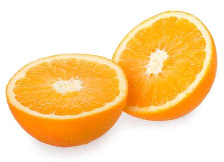Two halves of orange isolated on white Stock Photo