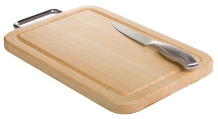 cutting board with knife isolated on white