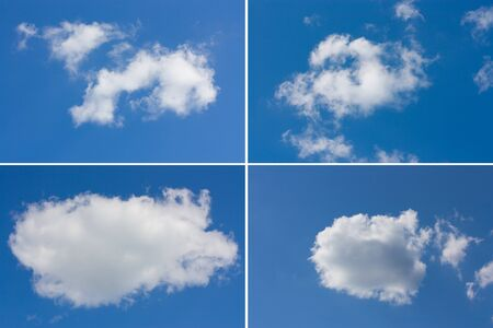 Set of different blue skies with clouds
