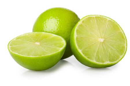 halves of lime isolated on white background