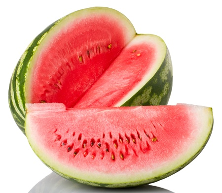 watermelon and slice isolated on white