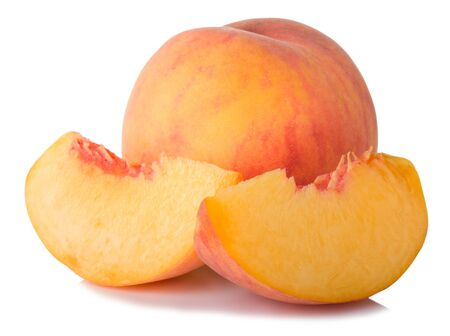 ripe peach fruit and slices isolated on white