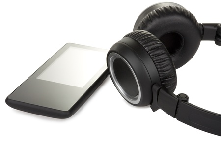 audio player: modern audio player and headphones isolated on white background Stock Photo
