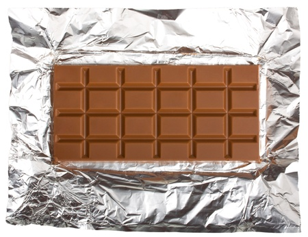 chocolate bar on foil, isolated on white background Stock Photo
