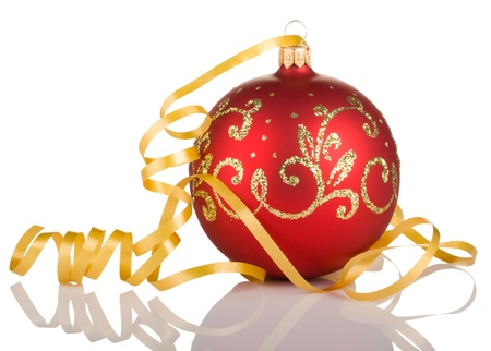 christmas ball with yellow ribbon isolated on white background