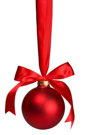 red christmas  ball hanging on ribbon isolated on white Stock Photo