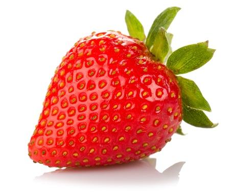 ripe strawberry isolated white background