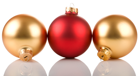 red and golden christmas balls   isolated on white background
