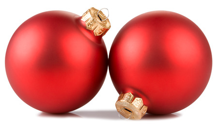 two red christmas balls  isolated on white background