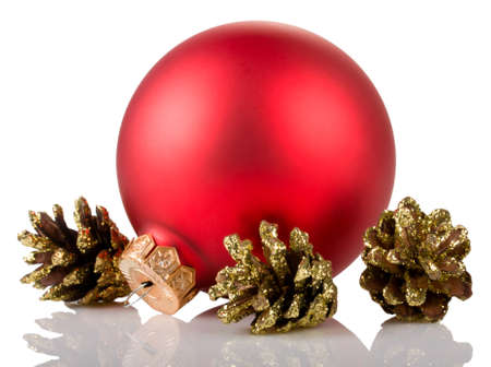 red christmas ball and cones isolated on white background Stock Photo