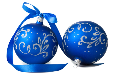 blue christmas balls with ribbon isolated on white background