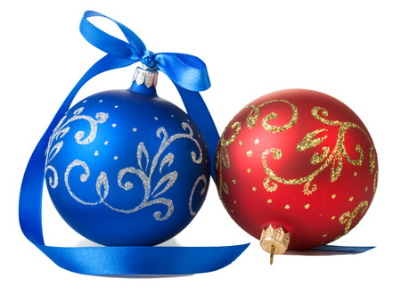 blue and red christmas balls with ribbon bow isolated on white background Stock Photo
