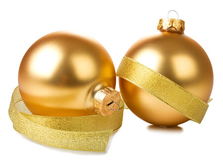 golden balls with ribbon isolated on white background