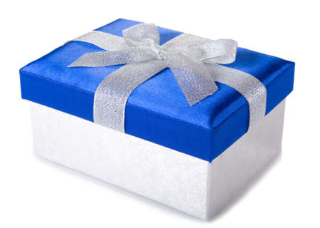 silver-blue gift box isolated on white background