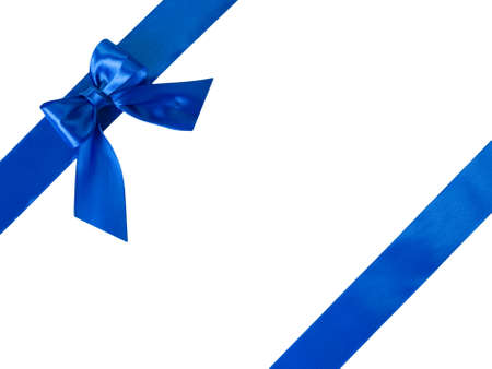 Blue ribbons with bow isolated on white background
