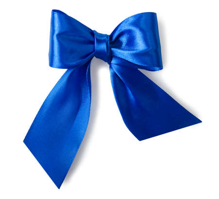 Blue satin gift bow isolated on white background