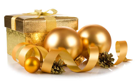 christmas gift box and baubles isolated on white background Stock Photo