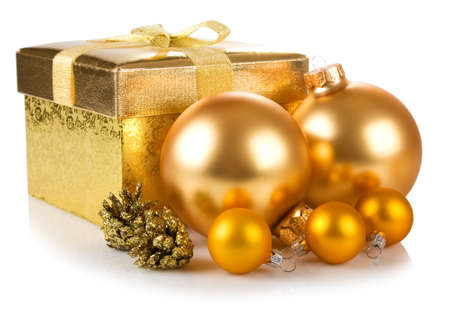 christmas gift box and balls isolated on white background Stock Photo