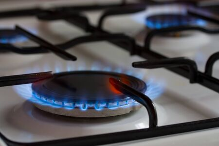 gas burner with blue flame