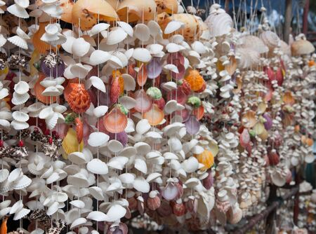 curtains made from shells hanging for sell Stock Photo