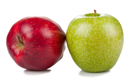 two apples red and green  isolated on white background