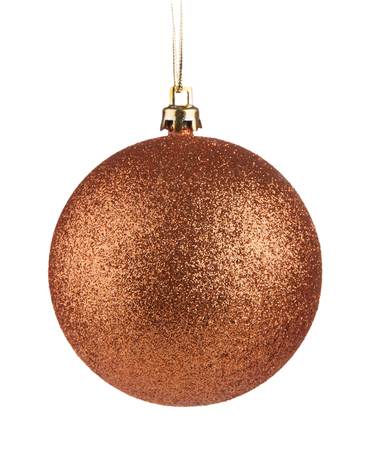 Bronze christmas ball hanging isolated on white background