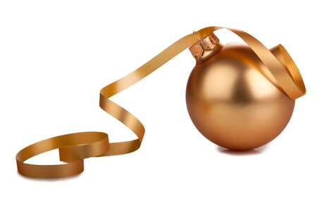 Golden christmas ball and ribbon isolated on white background
