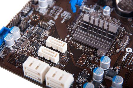 Ð¡omputer motherboard close up SATA connectors focus