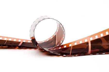Curled strip of 35mm negative film