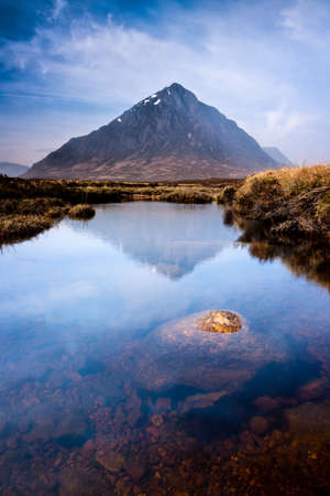 natural  moody: Photo of scottish highlands landscape scene from the River Etive looking towards Buachaille Etive Mor, Glencoe, Scotland