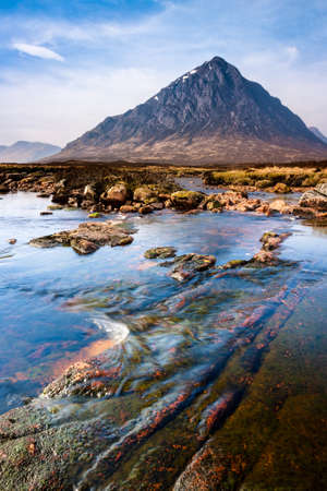 Photo of scottish highlands landscape scene from the River Etive looking towards Buachaille Etive Mor, Glencoe, Scotland