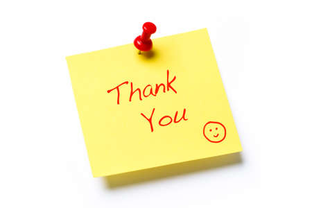 paper pin: Yellow sticky note isolated on a white background with the words Thank You