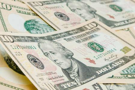 alexander hamilton: US Dollari sfondo con focus su Alexander Hamilton Archivio Fotografico
