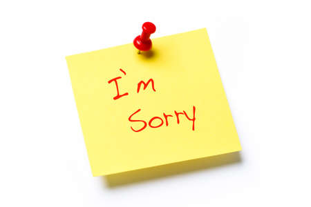 scrawl: Nota di carta gialla con le parole mi dispiace