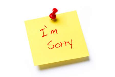 pardon: Note de papier jaune avec les mots Im Sorry