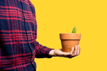 Young man holding a small plant of cactus with his left hand. He's in the left of the image. The background is yellow. The cactus is inside a brown vase