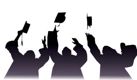 throw up: students: students throw up their caps on graduation day