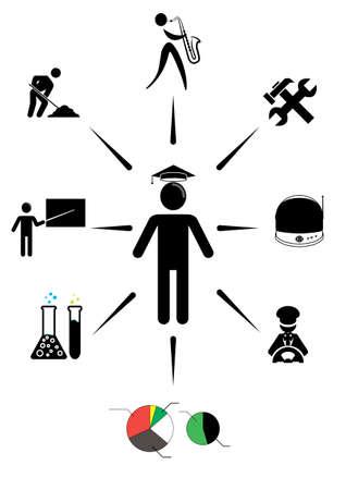 gorra policía: figura del palillo pensamiento de la educación futura, vector