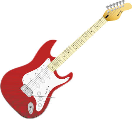 Red vector electro guitar. Music in your life, everyday, everywhere. Vector