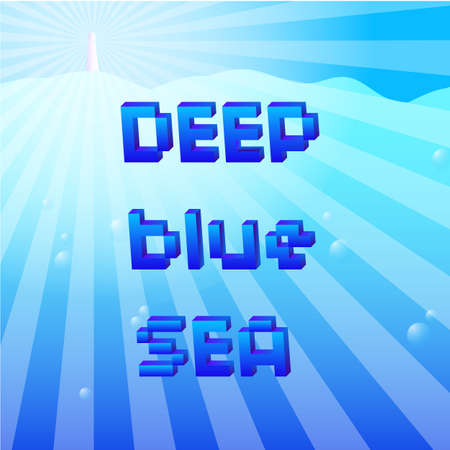 Deed blue sea and a lighthouse in vector. Vector