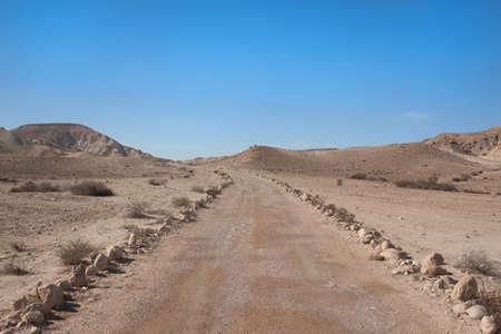 negev: Road and blue sky at Israeli Negev desert