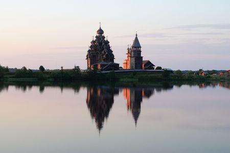 onega: Sunrise at Kizhi, wooden church.