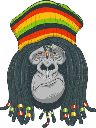 rastafarian: illustration: gorilla with dreadlocks and cap