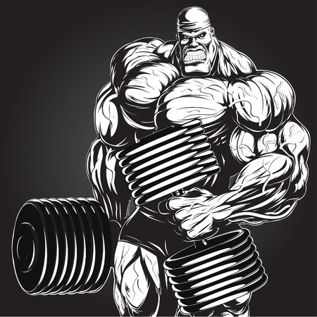 big smile: Illustration: a ferocious bodybuilder with dumbbell